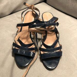 JCrew navy patent strapped wedge heels, Sz 8.5